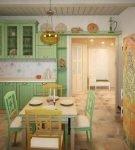 Светло-зелёная мебель на кухне в средиземноморском стиле