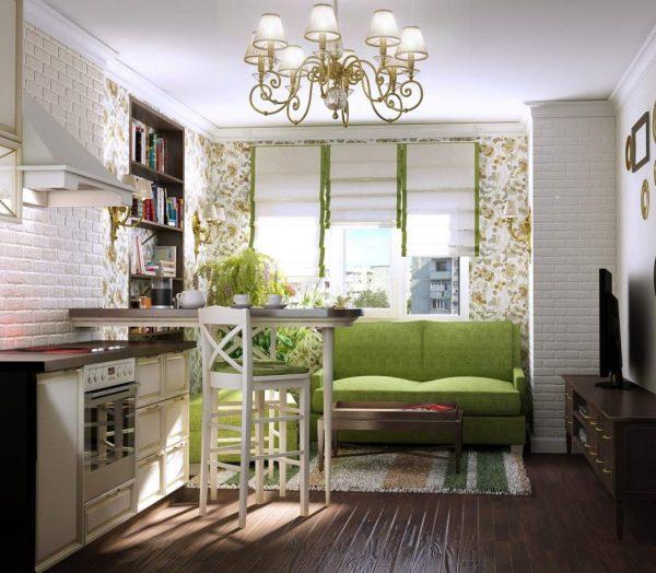 Зелёный диван на кухне в средиземноморском стиле