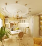 Оригинальный потолок барокко в кухне-столовой
