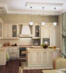 Тёмный пол на кухне-столовой барокко