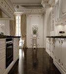 Кухня барокко с тёмным полом