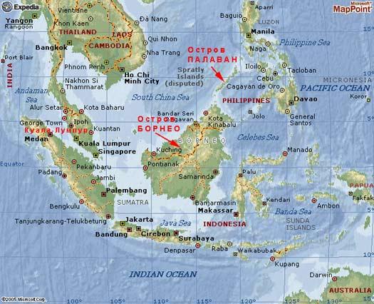 Остров Борнео на карте