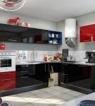 Чёрно-белая кухня с красными и синими фрагментами