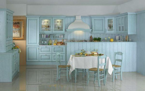 Мебель голубого цвета на кухне