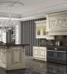 Тёмные обои на кухне с мебелью барокко