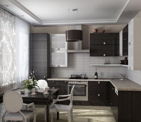 Чёрная угловая кухня