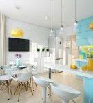 Голубые мебельные фасады на кухне