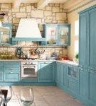 Светлая голубая мебель для кухни