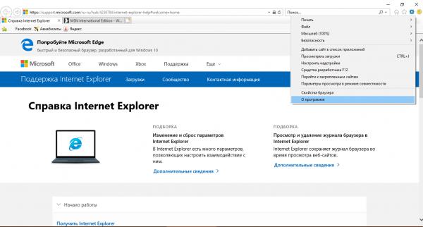 Пункт «О программе» в меню IE 11