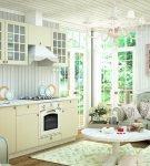 Интерьер прованс на кухне в белых тонах
