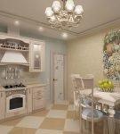 Яркая люстра на кухне в стиле прованс