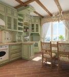 Балки на потолке кухни прованс