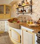 Эффектная отделка стен на кухне прованс