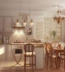 Кованые люстры на кухне в прованском стиле