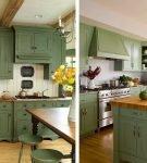 Зелёно-коричневая мебель на кухне