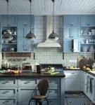 Голубая гарнитур с коричневой столешницей на кухне