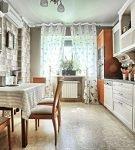 Узкая кухня с прованским дизайном