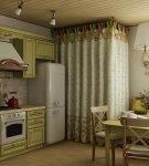 Яркий гарнитур и лаконичная люстра на кухне в прованском стиле