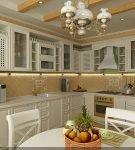 Светлый гарнитур на небольшой и уютной кухне