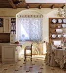 Просторная кухня прованс в доме