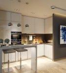 Большая кухня с оформлением в стиле минимализм