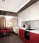 Двухцветная мебель на кухне с дизайном минимализм