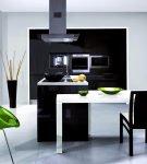 Небольшая чёрно-белая кухня минимализм