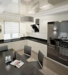 Большая кухня с контрастным оформлением в стиле минимализм