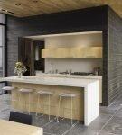 Бежевая мебель на кухне с дизайном минимализм