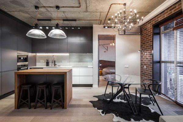 Оформление потолка в кухне лофт