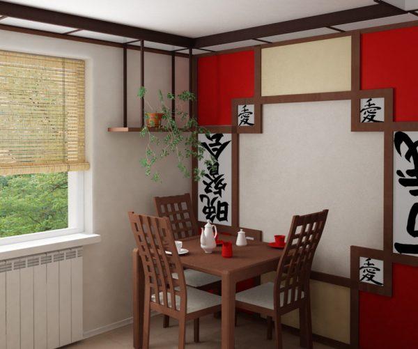 Пример оформления стен в японском стиле