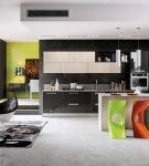 Яркие элементы с кухне хай-тек