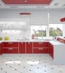 Красная кухня хай-тек