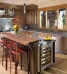 Угловая кухня со стойкой в стиле лофт