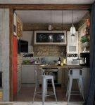 Маленькая кухня со стойкой в стиле лофт