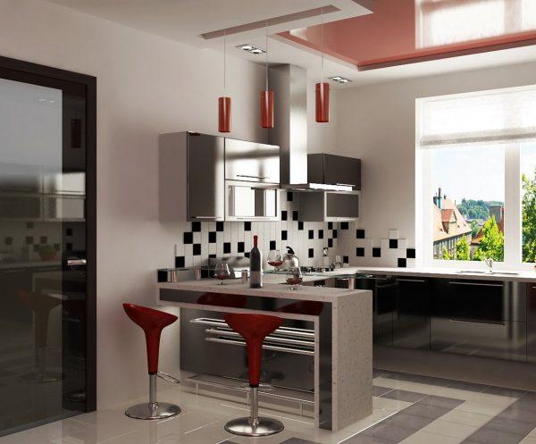 Полы в кухонном интерьере хай-тек