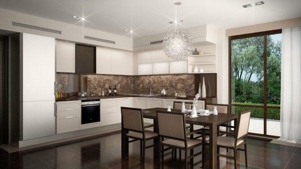 Коричневый пол на кухне в доме