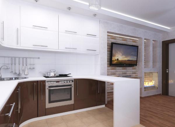 Коричнево-белая кухня в квартире-студии