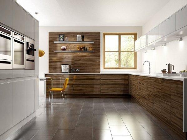 Деревянные коричневые детали на кухне в стиле минимализм