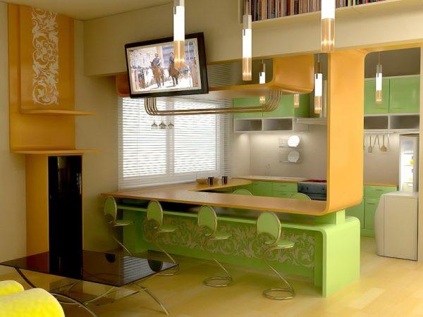 Зелёная кухня с необычной стойкой