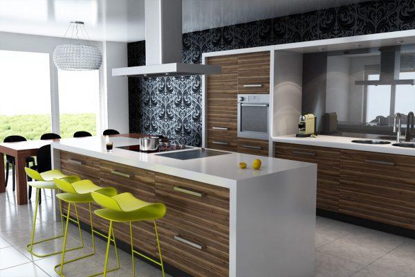 Большая кухня в стиле модерн с яркими стульями