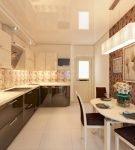 Узкая кухня с узорчатой стеной и коричневой мебелью