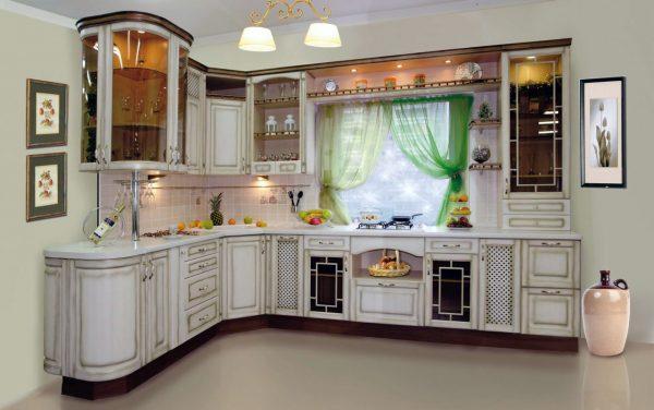 Стены кухни с патиной