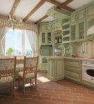 Зелёная кухня с патиной в стиле кантри