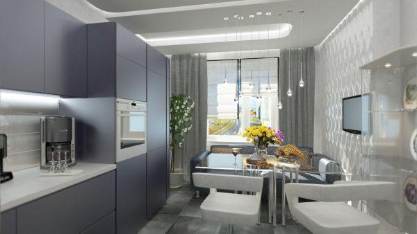 Серый гарнитур и светлая столешница на кухне хай-тек