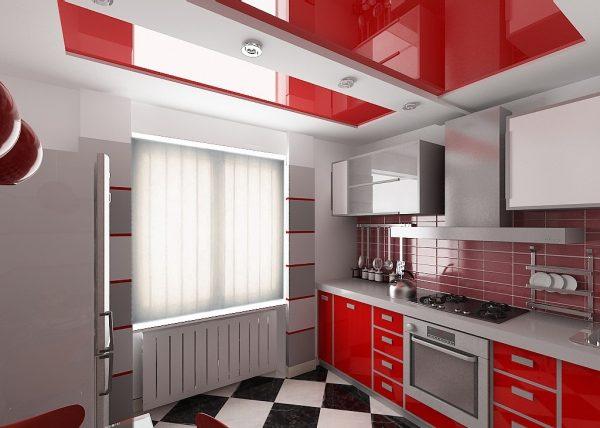 Бело-красный натяжной потолок на кухне хай-тек