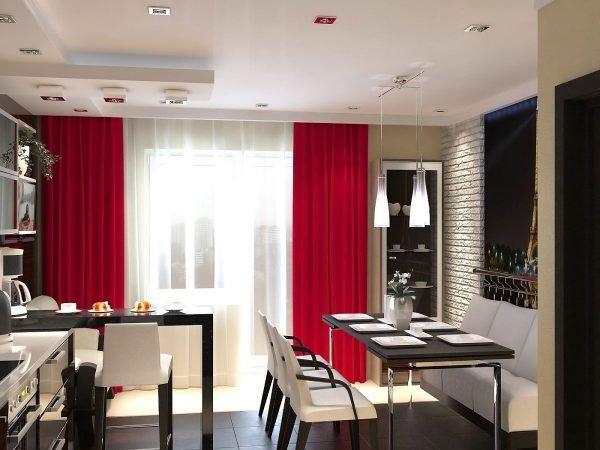 Красные шторы на кухне хац-тек