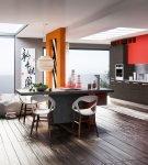 Двухцветный гарнитур и стулья в стиле хай-тек