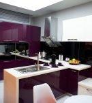 Фиолетовая мебель в стиле хай-тек