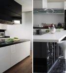 Варианты чёрно-белой мебели для кухни хай-тек